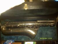 "VINTAGE FRENCH "" BASS "" SAXOPHONE , PROFESSIONALLY re PADDED etc, SILVER PLATE V.G.C.+"