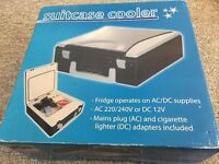Portable fridge cooler heater AC DC with leads. Suitcase design. Boxed