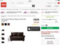 Brand New Salisbury Chocolate Leather Sofa
