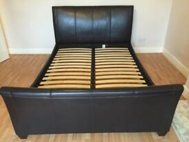 Cow hide leather king size bed frame