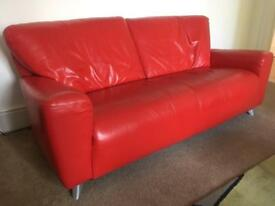 Fabulous Festive Red Leather Sofa and two foot stools
