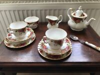 Royal Albert old country roses tea set for two