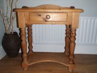 Pine side / console table with drawer