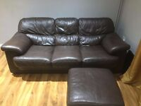 Harveys brown leather sofa 3 seater, 2 seater and a footstall