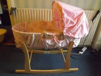 Pink Moses Basket and Stand, with Beige Baby Bath