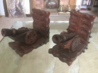 Wooden Cannon Book Ends