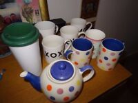 Cups , selection of unused mugs and a teapot £4