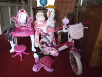 Girls pink bicycle age 2yrs to 5yrs , princess dressing table and soft toys