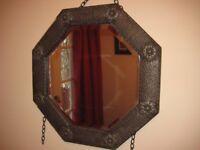 Genuine Vintage, Octagonal Art Deco Framed, Bevelled Edge Mirror with Chain £10