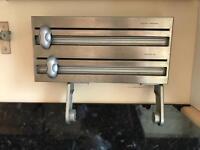 Kitchen paper towel, cling film, aluminium cutter