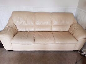 Cream leather sofa's. 3 seater, 2 seater and Footstool