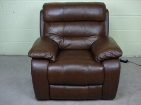 'MORENO' ELECTRIC POWER RECLINING ARMCHAIR SOFA IN HAZELNUT 100% LEATHER