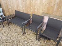 Black Metal garden furniture 4 pieces.