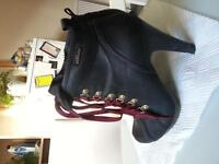 Black with red laces rock chick boots