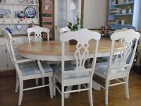 FARMHOUSE PINE EXTENDING TABLE & 6 CHAIRS - DELIVERY AVAILABLE