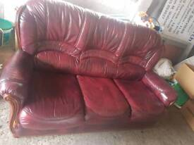 3 seater leather sofa + 2 single chairs - Matching set