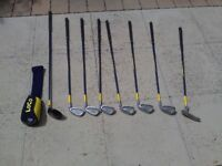 Mixed junior golf clubs.