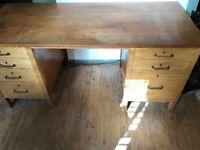 Ex MOD office desk in solid oak