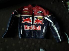 Red bull leather biker jacket