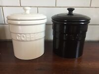 Coffee and Tea Ceramic Canisters - Black/Ivory
