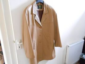 LADIES TAN COLOURED LEATHER COAT FROM 'PLANET EURO' ... LONDON.