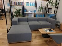 Grey/Blue Corner Sofa