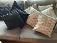4 black velvet cushions and 5 grey cushions