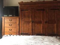 Halo plank furniture set. Triple wardrobe. Tall drawers. 2x bedside tables