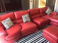 Large 4-seater sofa in red leather, excellent quality, very good condition