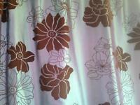 Debenhams silk teal and brown curtains