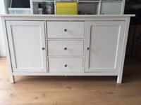 White IKEA sideboard, good condition, crystal effect door knobs.