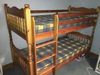 Solid Pine Bunk Beds and mattresses