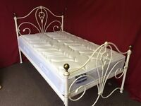 3/4 (4FT) WHITE METAL BED WITH SEALY POSTUREPEDIC LATEX SURPORT MATTRESS,CAN DELIVER