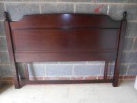 Solid mahogany double bed headboard