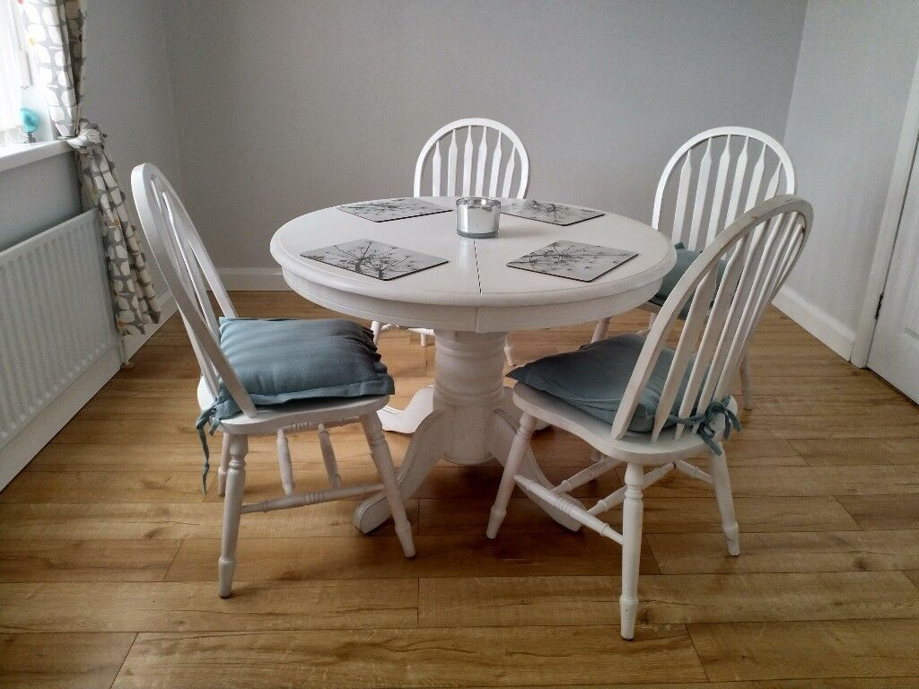 White Round Extending Dining Table And Four Chairs Painted In Lurgan