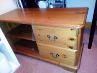Low wooden side cabinet, 2 drawer, shelves.