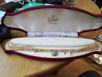 Vintage 1940s faux Lotus De Lux pearls double thread necklace