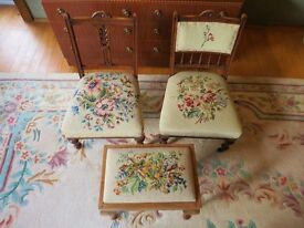 ANTIQUE CHILD FEEDING SEATS AND FOOTSTOOL