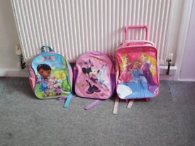 childs princess trolley and other bags