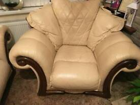 LEATHER SOFA & 2 CHAIRS AND A POOFFEE £50
