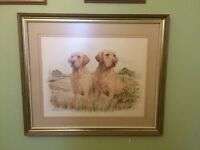 Large JAMES ROWLEY Two Labradors limited edition framed print 484/850 Dog Painting.