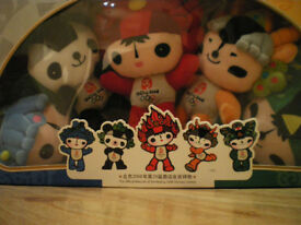 BEIJING OLMYPICS 2008, FULL SET OF FIVE OFFICIAL MASCOTS IN ORIGINAL BOX. VERY RARE
