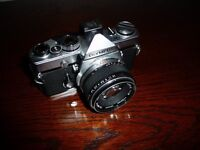 Olympus OM1 SLR Manual Film Camera with Lens and Case