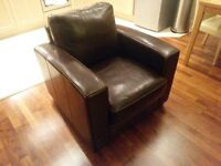 Leather sofa armchair and foot stool ***BARGAIN****