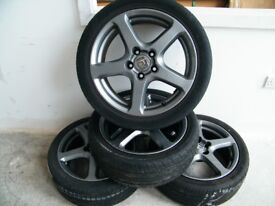 """4 x 17"""" Honda Civic Type S Alloy Wheels in Graphite with Tyres Good Used Condition"""