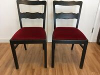 4 dining chairs - handmade, solid wood with red seat covers