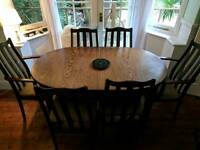 Solid Oak Extendable Dining Table + Six chairs