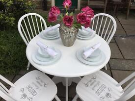 Round Dining Table & 4 Chairs ~ White Shabby Chic Vintage