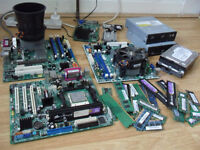 OLD PC MOTHERBOARDS WITH CPU , RAM , HARD DRIVES , GRAPHICS CARDS