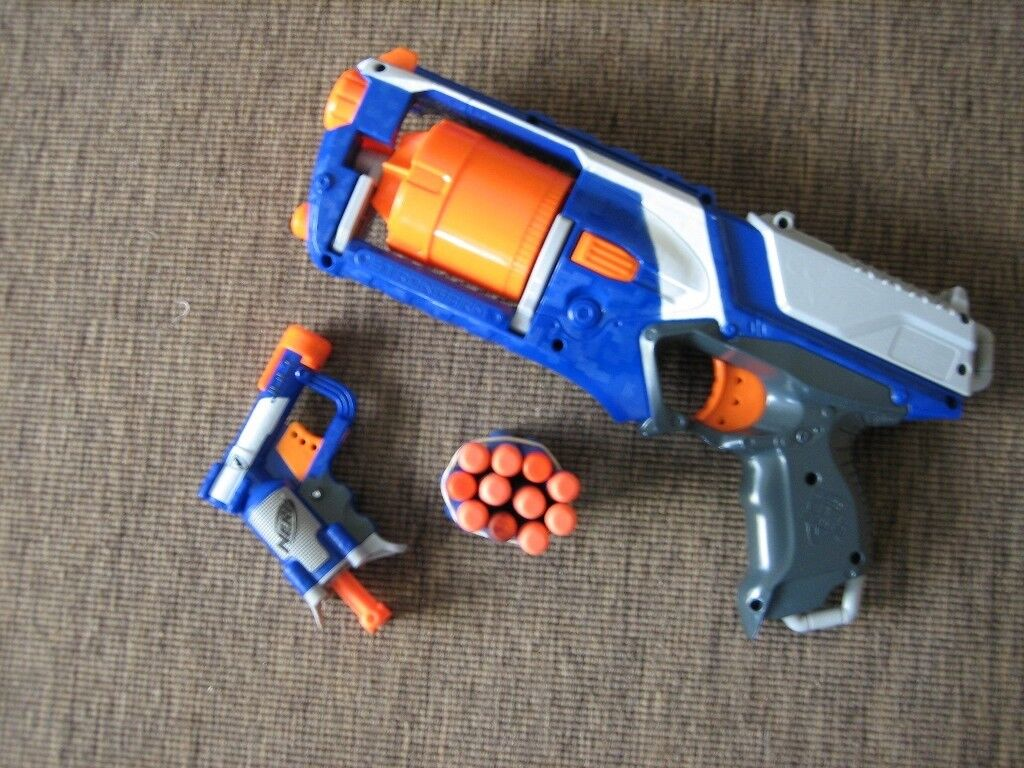 2 Toy Nerf Guns 1 Multi Shot and 1 Single Shot + Ammunition